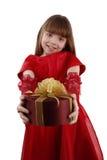Kleines Mädchen mit Geschenk. lizenzfreies stockbild