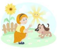 Kleines Mädchen mit glücklichem Hund und Sonnenblume Lizenzfreie Stockfotos