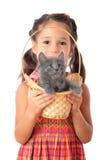 Kleines Mädchen mit grauer Miezekatze in der Flechtweide Lizenzfreie Stockfotografie