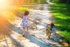 Kleines Mädchen mit Hund Stockbilder