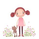 Kleines Mädchen mit ihrem Teddybären lizenzfreie abbildung