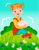 Kleines Mädchen mit Kaninchen Lizenzfreies Stockbild