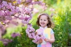 Kleines Mädchen mit Kirschblüte Stockfotos