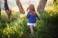 Kleines Mädchen mit langem Haarbetrieb, Wiese, Sonnenuntergang Lizenzfreies Stockfoto