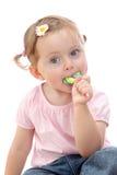 Kleines Mädchen mit Lutscher Stockbilder