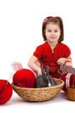 Kleines Mädchen mit Osterhasen Lizenzfreies Stockbild