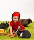 Kleines Mädchen mit Osterhasen Stockbilder