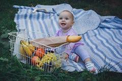 Kleines Mädchen mit Picknickkorb im Sommerpark lizenzfreie stockbilder