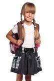 Kleines Mädchen mit Rucksack Stockfotos