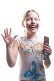 Kleines Mädchen mit Schokolade Stockfotos