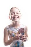 Kleines Mädchen mit Schokolade Stockbild