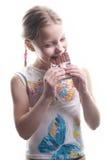 Kleines Mädchen mit Schokolade Stockbilder