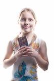 Kleines Mädchen mit Schokolade Lizenzfreies Stockbild