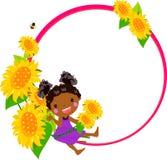 Kleines Mädchen mit Sonnenblume und Feld vektor abbildung