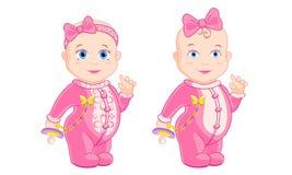 Kleines Mädchen mit Ständen eines rosa Bogens vektor abbildung