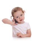 Kleines Mädchen mit Telefon Stockbilder