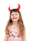Kleines Mädchen mit Teufel-Hörnern Stockbild