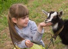 Kleines Mädchen mit Ziege Lizenzfreie Stockfotos