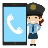 Kleines Mädchen-Polizei neben einem Großleinwand-Handy lizenzfreie abbildung