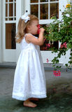 Kleines Mädchen-riechende Blume Stockfotografie