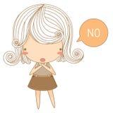 Kleines Mädchen sagen nein vektor abbildung