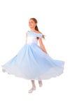 Kleines Mädchen sieht wie eine kleine Prinzessin In Blue aus Stockfotografie