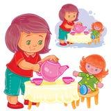 Kleines Mädchen spielt mit einer Puppe, behandelt sie mit Tee vektor abbildung