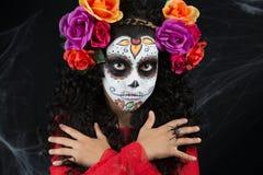 Kleines Mädchen Sugar Skulls Lizenzfreies Stockfoto