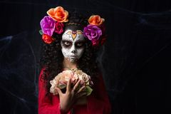 Kleines Mädchen Sugar Skulls Lizenzfreie Stockfotos