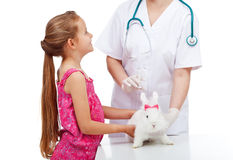 Kleines Mädchen am Tierarzt mit ihrem netten Kaninchen Lizenzfreies Stockbild