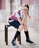 Kleines Mädchen-tragende Gläser Lizenzfreies Stockfoto