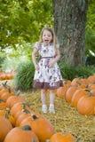 Kleines Mädchen u. pumkins lizenzfreies stockfoto