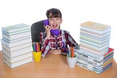 Kleines Mädchen und Bücher Lizenzfreie Stockfotos