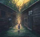 Kleines Mädchen und Bahn Stockfotos