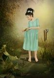 Kleines Mädchen und Frosch Stockfotos