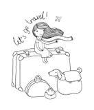 Kleines Mädchen und große Taschen Stockbilder
