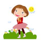 Kleines Mädchen und Hund lizenzfreie abbildung