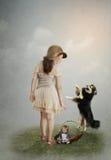 Kleines Mädchen und Hund Lizenzfreies Stockfoto