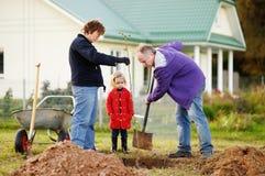 Kleines Mädchen und ihre Großeltern, die einen Baum pflanzen lizenzfreie stockfotografie