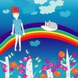 Kleines Mädchen und Kätzchen auf einem Regenbogen Lizenzfreies Stockfoto