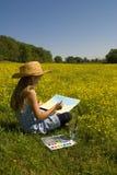 Kleines Mädchen und Kunst Lizenzfreies Stockfoto