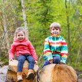 Kleines Mädchen und netter blonder Junge, die zusammen im Wald spielt Lizenzfreie Stockbilder
