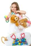 Kleines Mädchen und Ostereier Stockbilder