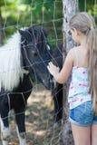 Kleines Mädchen und Pony Lizenzfreies Stockfoto