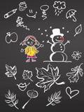 Kleines Mädchen und Schneemann mit Gekritzeln auf Tafel stock abbildung