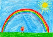 Kleines Mädchen unter dem Regenbogen, die Zeichnung des Kindes lizenzfreie abbildung
