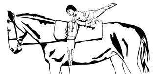 Kleines Mädchen Vaulting auf einem Pferd Lizenzfreies Stockbild