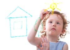 Kleines Mädchen-Zeichnung Lizenzfreie Stockfotografie