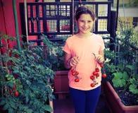 Kleines Mädchen zeigt rote Tomaten Lizenzfreie Stockbilder