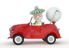 kleines Mann 3d golfist mit dem Auto. Lizenzfreies Stockfoto